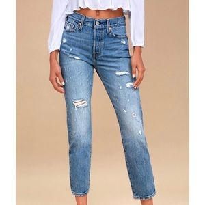 Levi's Wedgie Fit Medium Wash Distressed Jeans